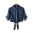 Womens Stylish Dark Blue Striped Printed Long Sleeve Button Down Tied Shirt