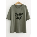 Summer Simple Letter JELLY JOY Print Round Neck Short Sleeve Tee