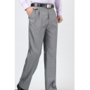 Stylish Basic Simple Plain Men's Cotton Business Dress Pants