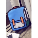 Girls Preppy Style Comic Anime Colorblock 3D Backpack 35*40*20cm