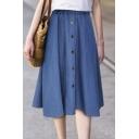 Girls Stylish Blue Button-Front Midi A-Line Denim Skirt