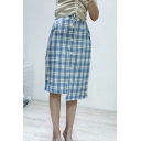 Stylish Plaid Pattern Button Front Midi Asymmetrical Fitted Skirt for Women