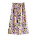 Hot Fashion Women's Yellow Lemon Print Maxi A-Line Purple Skirt
