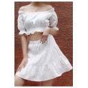 New Fashion Simple White Drawstring Waist Hollow Crochet Mini A-Line Skirt