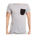 Mens Hot Fashion Contrast Pocket Patched Round Neck Short Sleeve Fitted T-Shirt