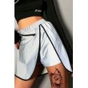 Girls Cool Street Fashion Contrast Piping Metallic Color Silver Mini Skorts Skirt