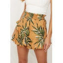 Summer Womens Fashion Holiday Yellow Leaf Print Ruffled Elastic Waist Skorts Skirt