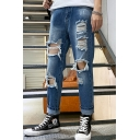 Men's New Trendy Simple Plain Regular Fit Light Blue Ripped Jeans with Holes