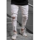 Men's Hot Fashion Solid Color Knee Cut Zip Cuffs White Ripped Jeans