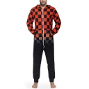 Mens New Stylish Black and Red Colorblock Plaid Printed Long Sleeve Hooded Zip Up One Piece Sleepwear Lounge Jumpsuits