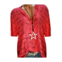Womens Popular Allover Letter Print V-Neck Short Sleeve Casual Loose Blouse Shirt