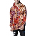 Vintage Red Tribal Printed Long Sleeve Oversized Drawstring Hoodie