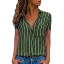 Womens Hot Popular Vertical Stripe Printed Short Sleeve Fitted Shirt Blouse