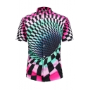 Cool Unique Colorblock Check Whirlpool Printed Short Sleeve Fitted Shirt for Men