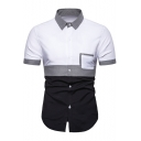 Mens Simple Color Block Short Sleeve Button Up Slim Fit Oxford Shirt