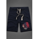Summer Fashion Unique Figure Printed Drawstring Waist Cotton Casual Sweat Shorts
