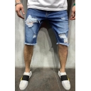 Men's Summer Stylish Frayed Ripped Detail Raw Hem Blue Denim Shorts