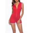 Womens Summer Trendy Sport Style Sleeveless Zip-Front Contrast Trim Red Bodycon Romper