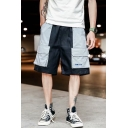 Men's Street Style Trendy Colorblock Flap Pocket Black Cotton Casual Loose Cargo Shorts
