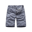 Men's Summer Stylish All-over Printed Zip-fly Casual Cotton Chino Shorts