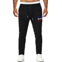 Men's Hot Fashion Colored Three Bars Patched Drawstring Waist Casual Sweatpants