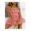 Sunshine Girls Active Fashion Solid Color Floral Print Strap Sleeveless Backless Fitted Romper