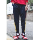 Men's New Fashion Colorblocked Stripe Side Casual Corduroy Tapered Pants