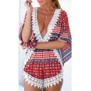 Womens Summer Fashion Plunge V-Neck Lace Trimmed Geometric Print Casual Holiday Romper