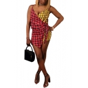 Womens Sexy Deep V Neck Straps Sleeveless Red Yellow Check Patch Asymmetric Romper