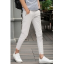 Men's New Fashion Simple Plain Cotton Cropped Casual Pants