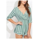 Fancy Summer Womens Striped Print Plunge V Neck Half Sleeve Casual Romper