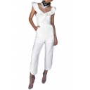 New Fashion Womens White Ruffle V-Neck Simple Solid Color Slim Jumpsuit