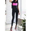 Womens Hot Stylish Sexy Colorblock Patch Sleeveless Yoga Skinny Fitted Jumpsuit Catsuit