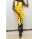 Women's Sexy Yellow Patchwork Colorblock Printed Plunge V-Neck Chic Shaped Fit Jumpsuit