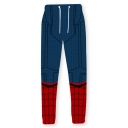 Popular Blue and Red Spider Web 3D Pattern Drawstring Waist Sport Joggers Pants Sweatpants