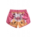 Womens Summer Funny Cartoon Pig Print Drawcord Waist Pink Loose Beach Swim Shorts
