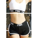 Fancy PINK Letter Waist Quick Dry Fake Two-Piece Sport Yoga Shorts