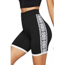 Summer Womens Fashion Printed Side Sport Slim Black Biker Shorts
