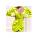 Fashion Unique Flourescent Green Sexy Plunge V-Neck Long Sleeve Ruched Mini Sheath Dress