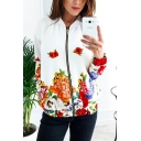 Womens New Trendy Chic Floral Print Long Sleeve Zip Up Fitted White Jacket
