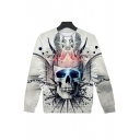 Cool Stylish 3D Crown Skull Printed Round Neck Long Sleeve Grey Sweatshirt