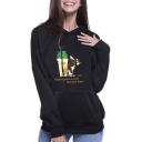 Funny Cartoon Pineapple Beer Rabbit Print Long Sleeve Black Hoodie
