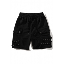 Unisex Summer Trendy Mental Holes Embellished Simple Plain Black Cotton Relaxed Sweat Shorts