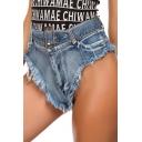 Womens Blue Fashion Frayed Hem Sexy Night Club Panty Hot Pants Denim Shorts
