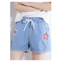 Students Fashion Star Patched High Rise Drawstring Waist Loose Casual Denim Shorts