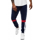 Men's New Fashion Colorblock Patched Drawstring Waist Casual Joggers Sweatpants