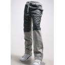 Men's New Fashion Colorblock Patched Drawstring Waist Casual Cotton Sweatpants