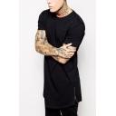Guys Summer Simple Hip Hop Style Fashion Zipper Closure Side Short Sleeve Long Hipster T-Shirt