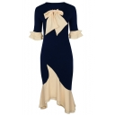 Womens Hot Fashion Navy Bow-Tie Round Neck Ruffle Trim Sleeves Maxi Dress for Party