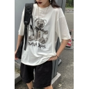 Womens Summer Popular Teddy Bear Printed Round Neck Casual Loose White Tee